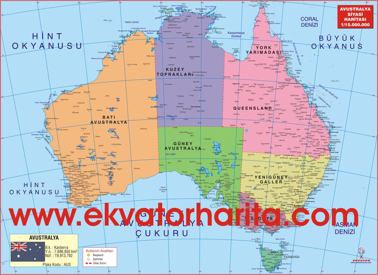 Avustralya haritası coğrafya atlası indir - siyasi avustralya
